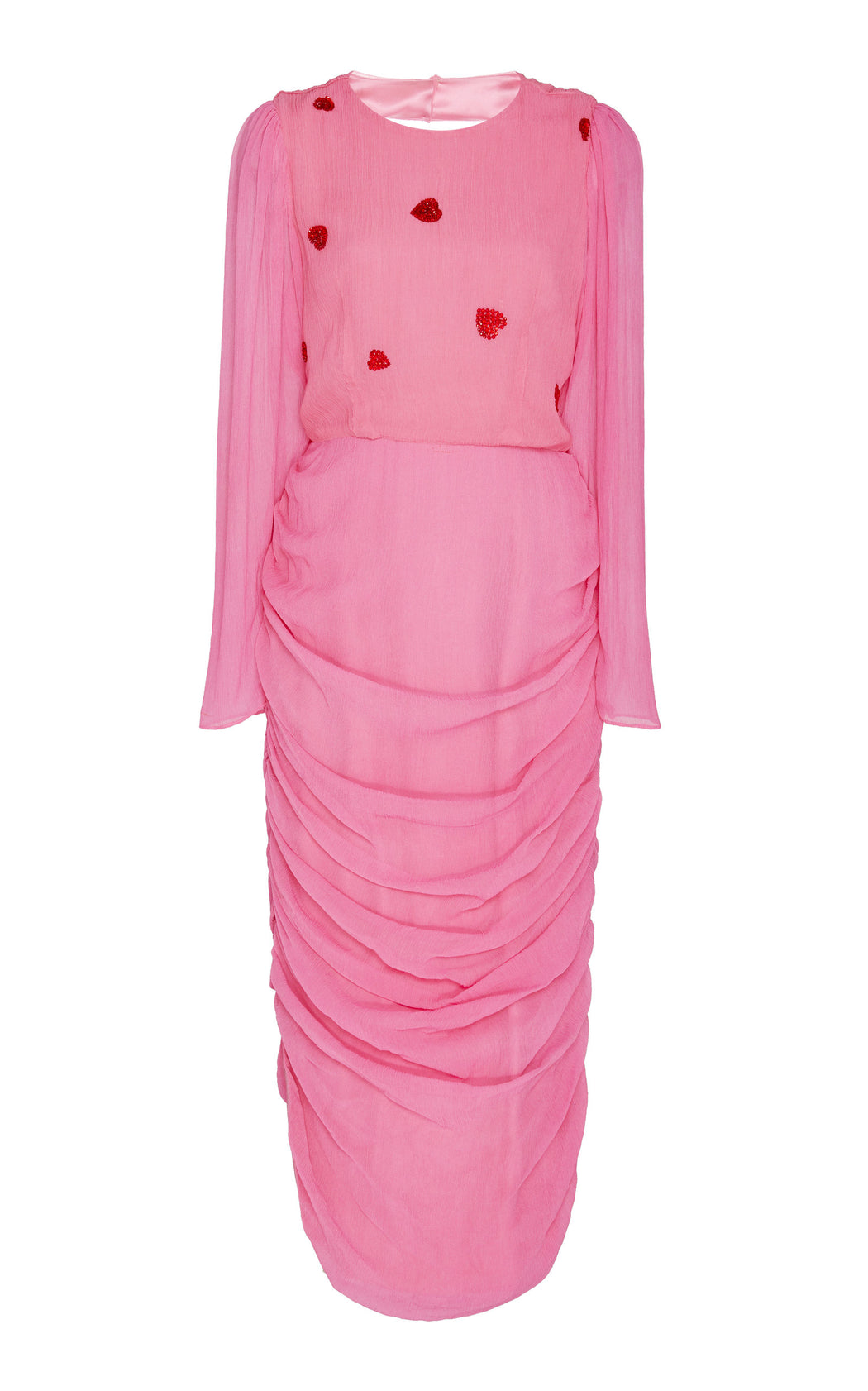 Love Train Heart Embellished Pink Silk Dress
