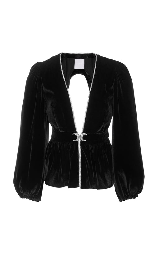 In Stock: Luisa Cutout Crystal Embellished Black Velvet Top