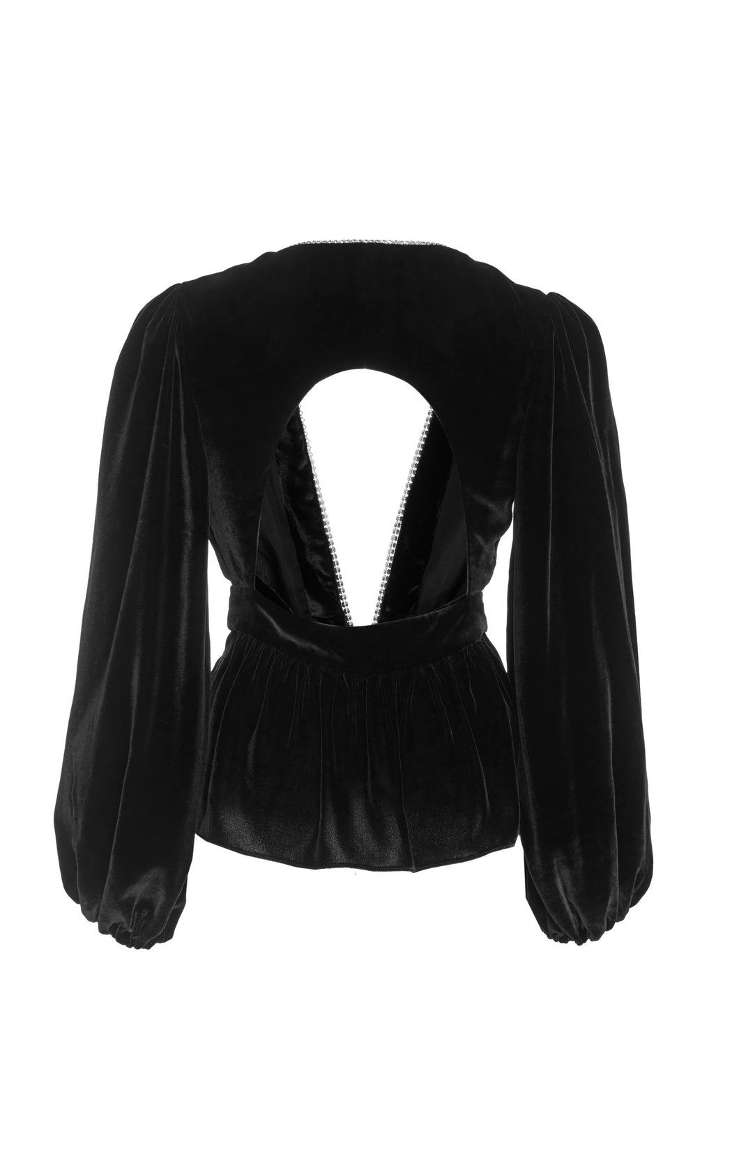 Luisa Cutout Crystal Embellished Black Velvet Top
