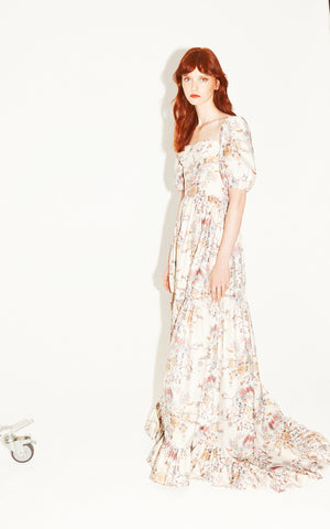 Maddalena Pleated Cream Floral-Brocade Maxi Gown