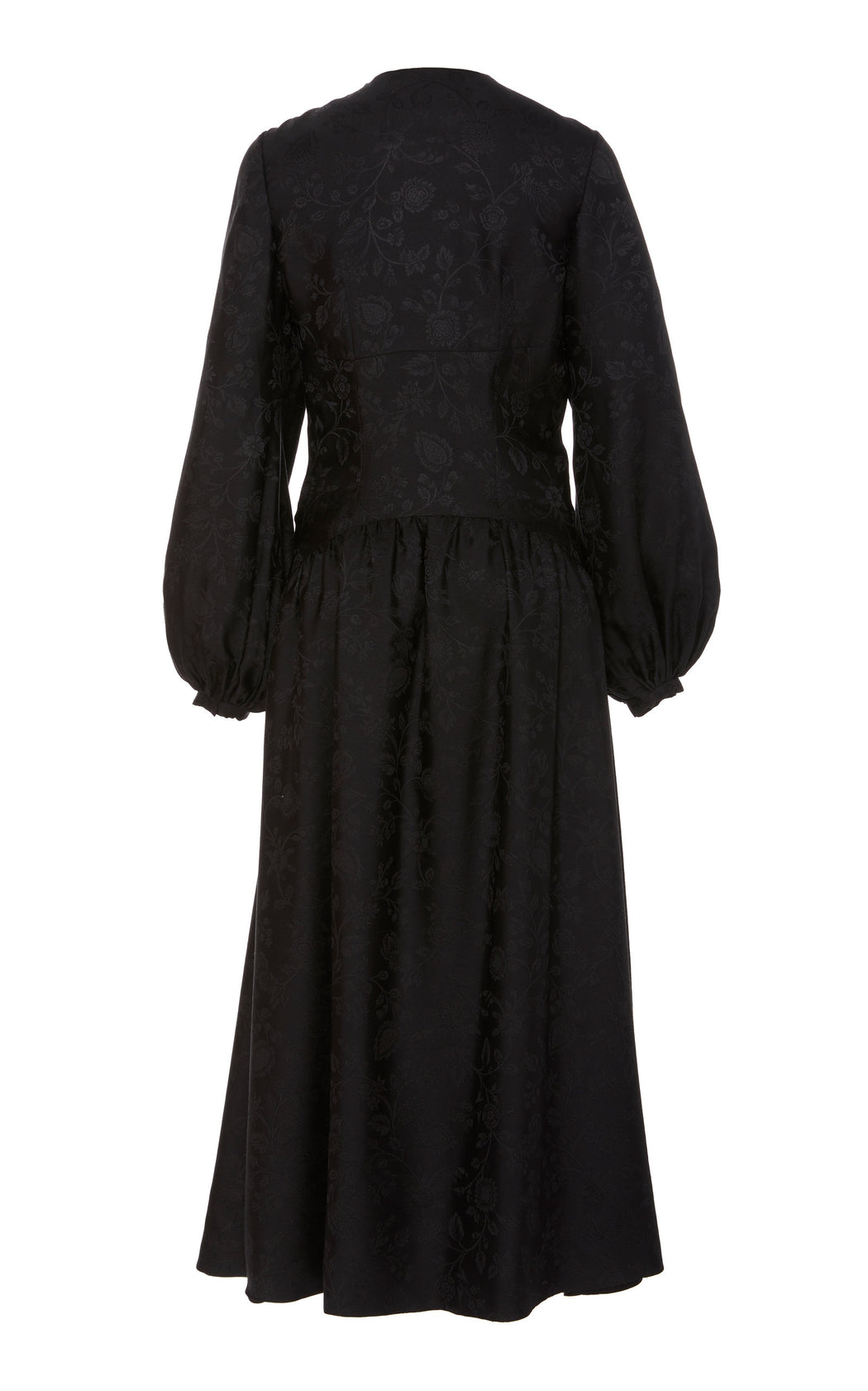 Marguerite Black Silk Floral Brocade Dress