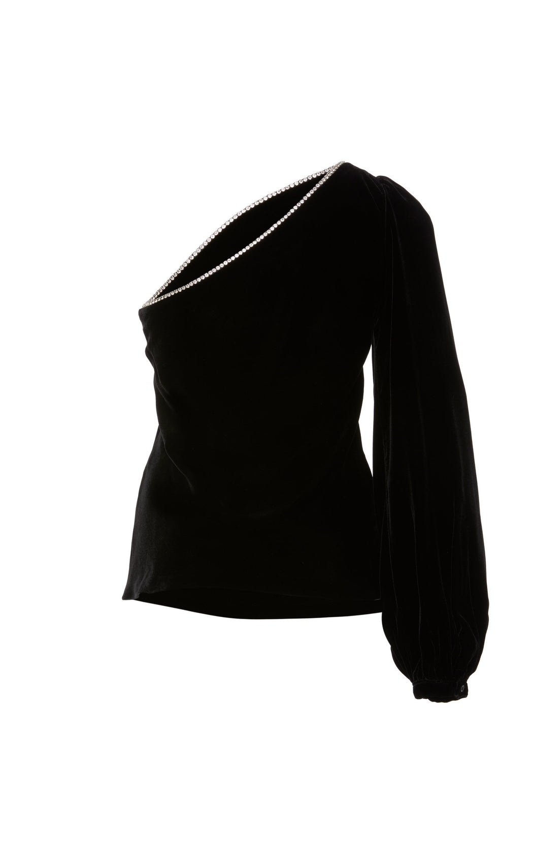 Maria Crystal-Embellished Black Velvet Top