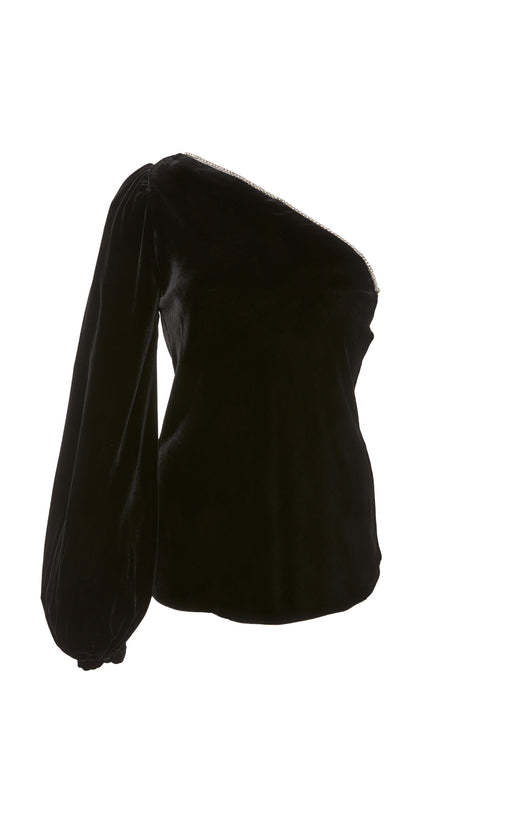 In Stock: Maria Crystal-Embellished Black Velvet Top