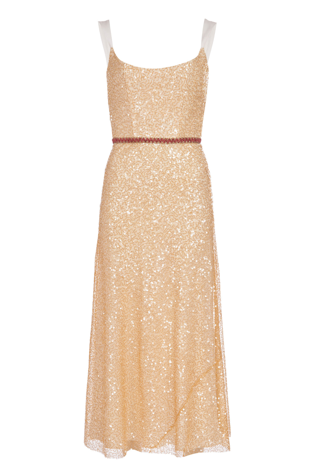 Paoloma Gold Sequin Bias Corset Midi Dress