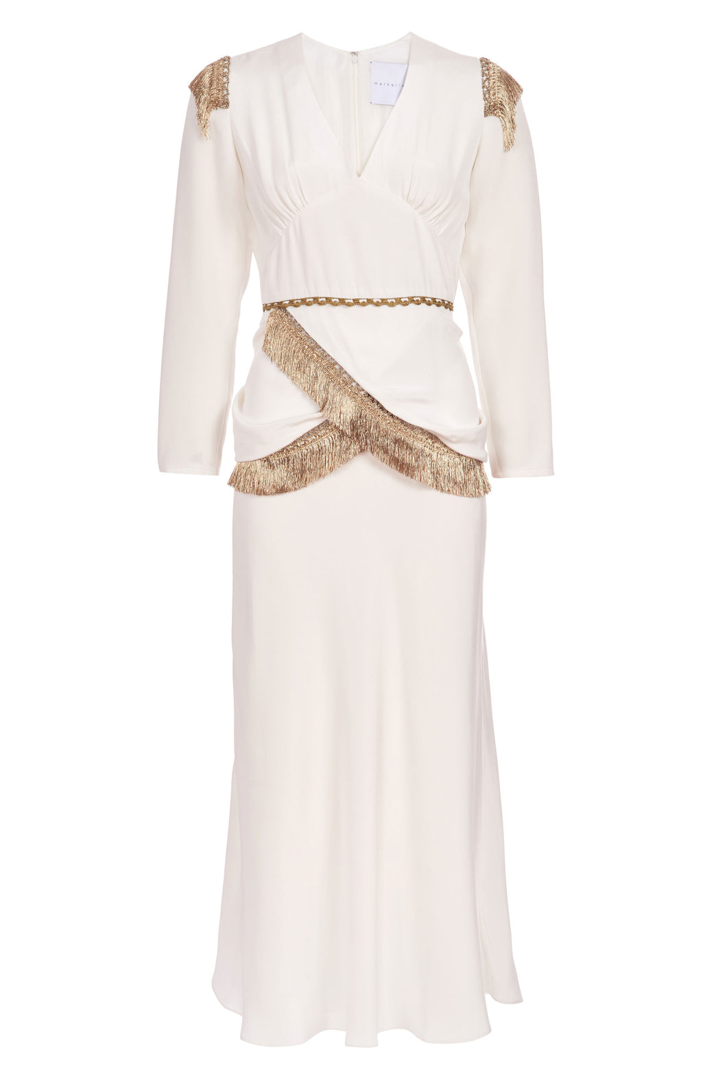 Isadora Fringed Ivory Silk Crepe Midi Dress