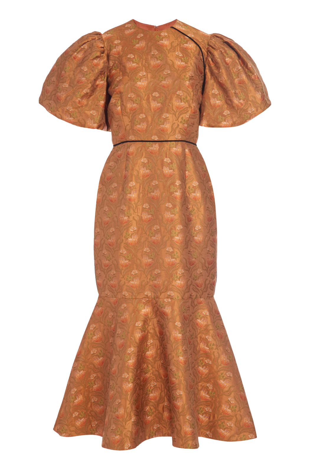 Puff Sleeve Gold Brocade Midi Dress