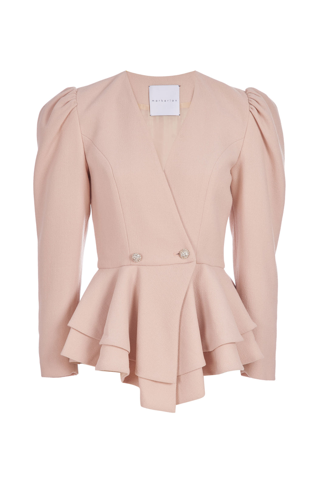 Viola Beige Wool Peplum Jacket with Crystal Buttons