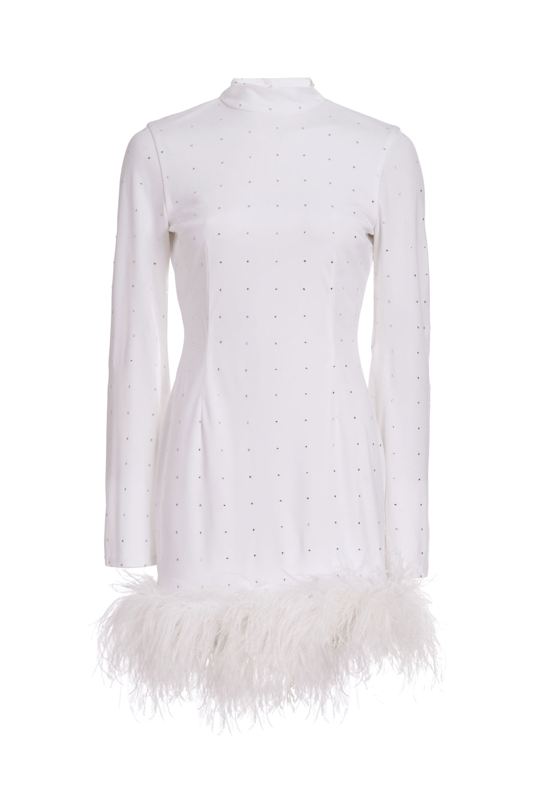 Henriette White Jersey Mini Dress with Crystal and Ostrich Feather Embellishment