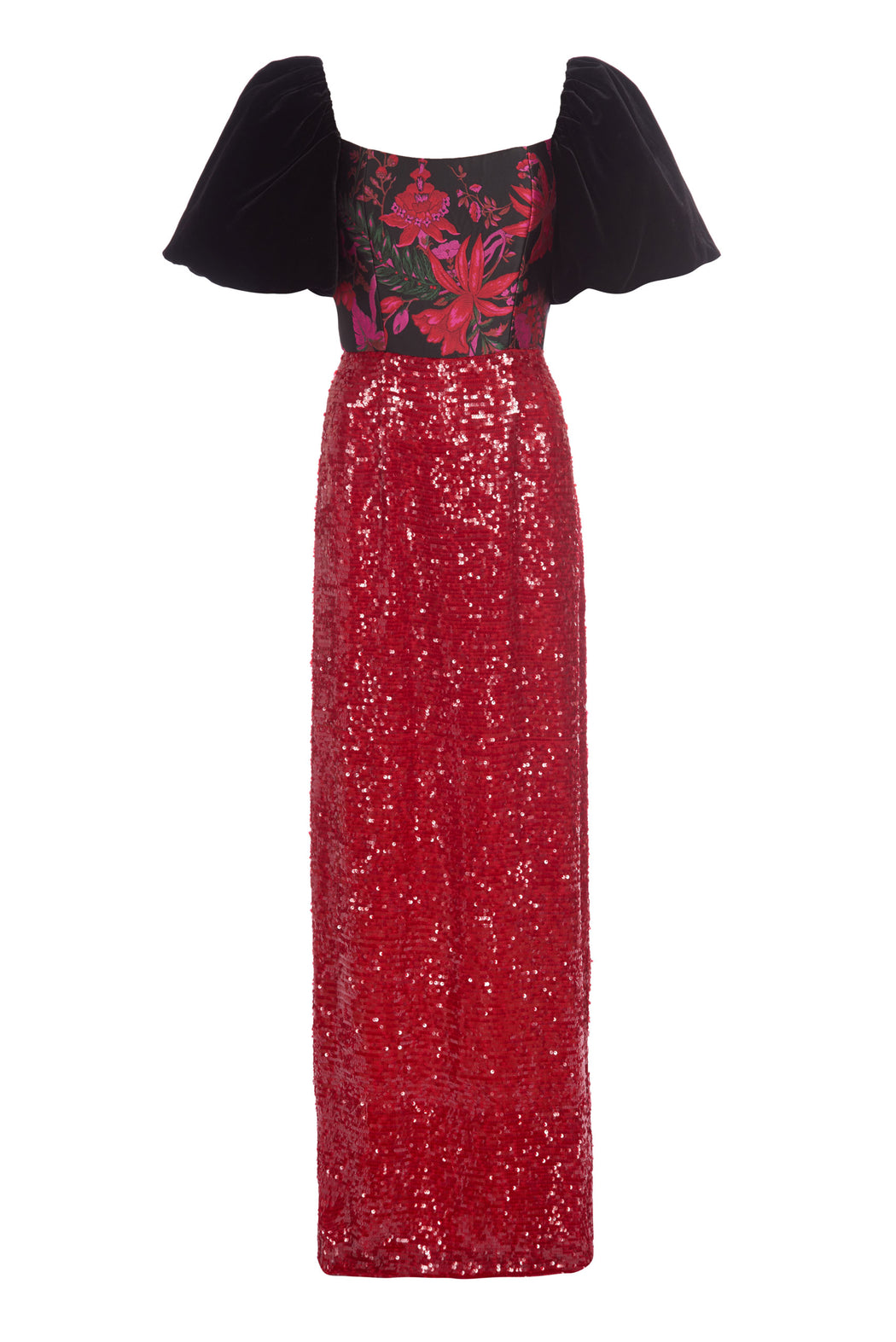Marguerite Black Floral Brocade and Red Sequin Gown