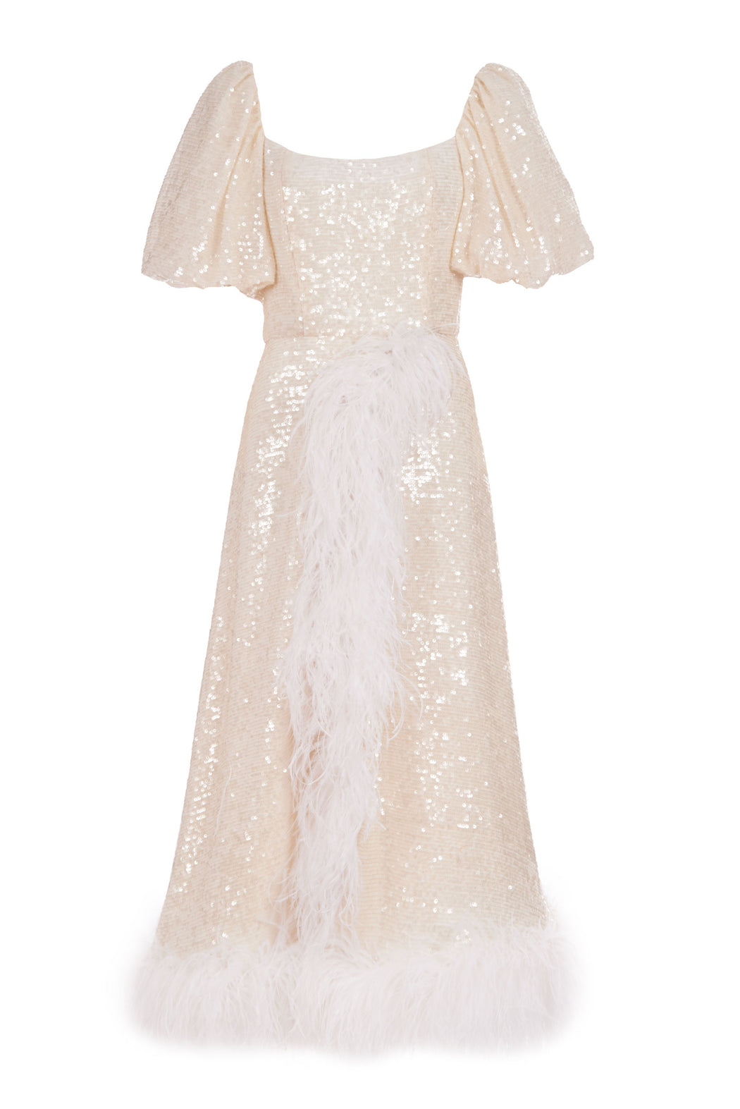 Jeanette Ivory Sequin Puff Sleeve Wrap Dress with Ostrich Feather Embellishment
