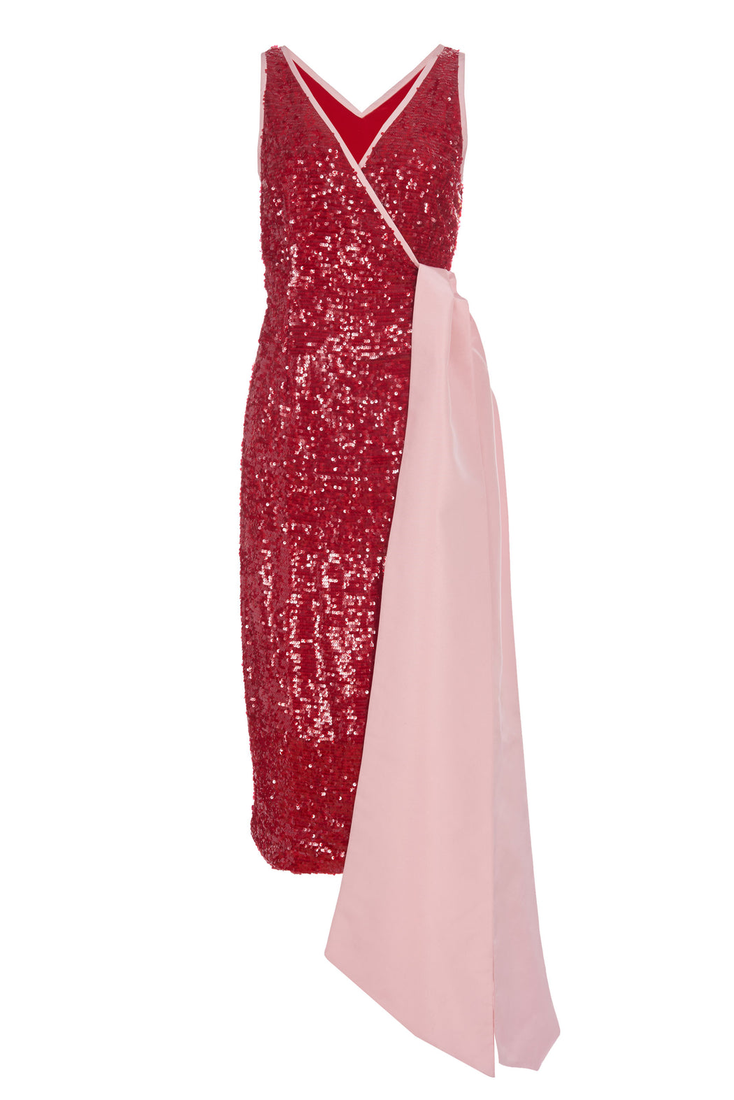 Fernande Red Sequin Wrap Dress with Pink Faille Trim
