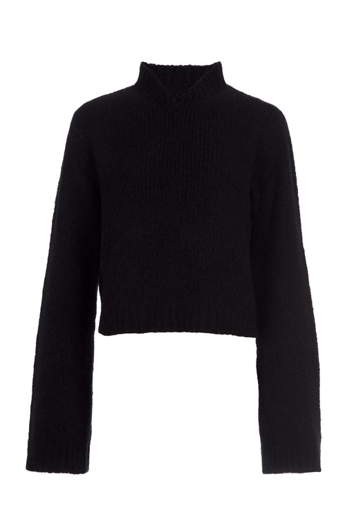 Black Mandarin Collar Cashmere Sweater