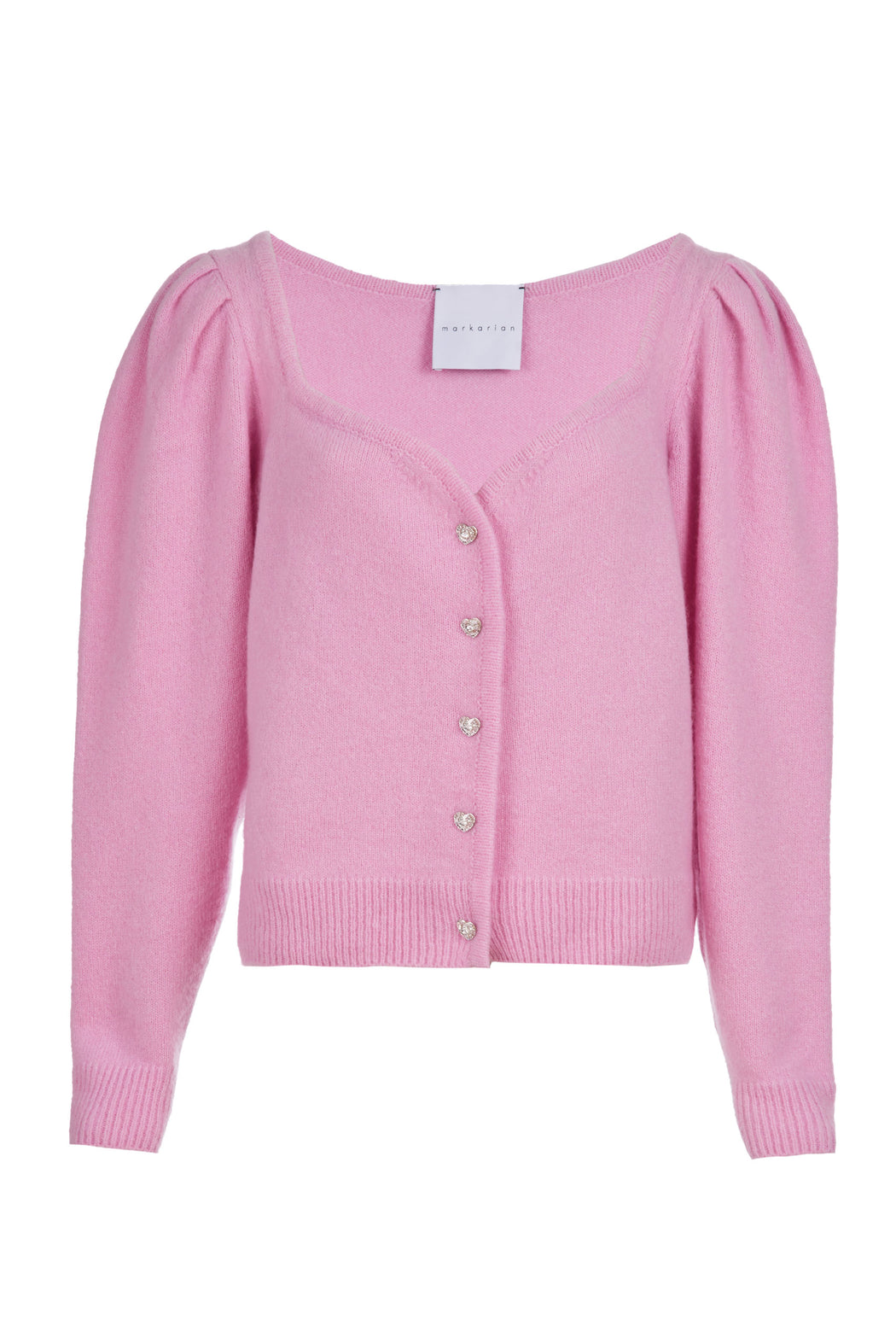 Sweetheart Neck Pink Cashmere Cardigan with Crystal Heart Buttons