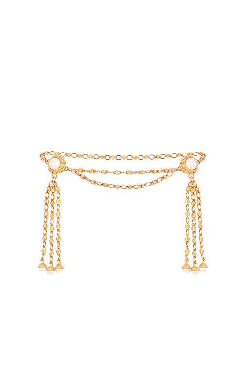 X Ciner Faustina Double Pearl Tassel Embellished Chain Belt