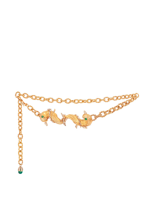 X Ciner Pisces Embellished Gold-Tone Chain Belt