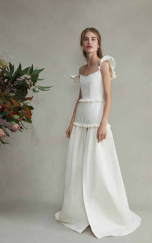 Arabella White Silk Moire Faille Gown