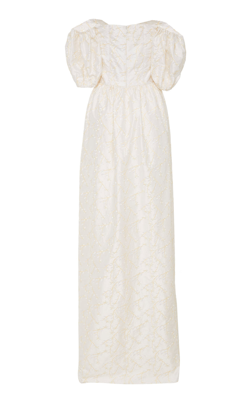 White Floral Embroidered Silk Gown