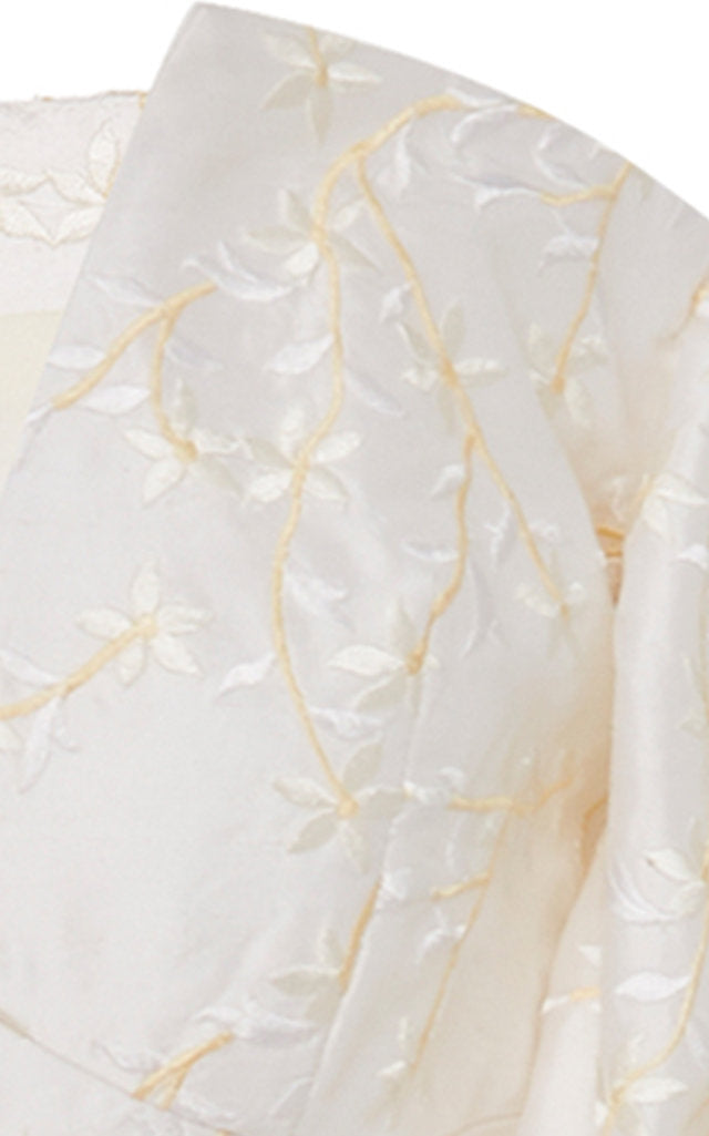 In Stock: White Floral Embroidered Silk Gown