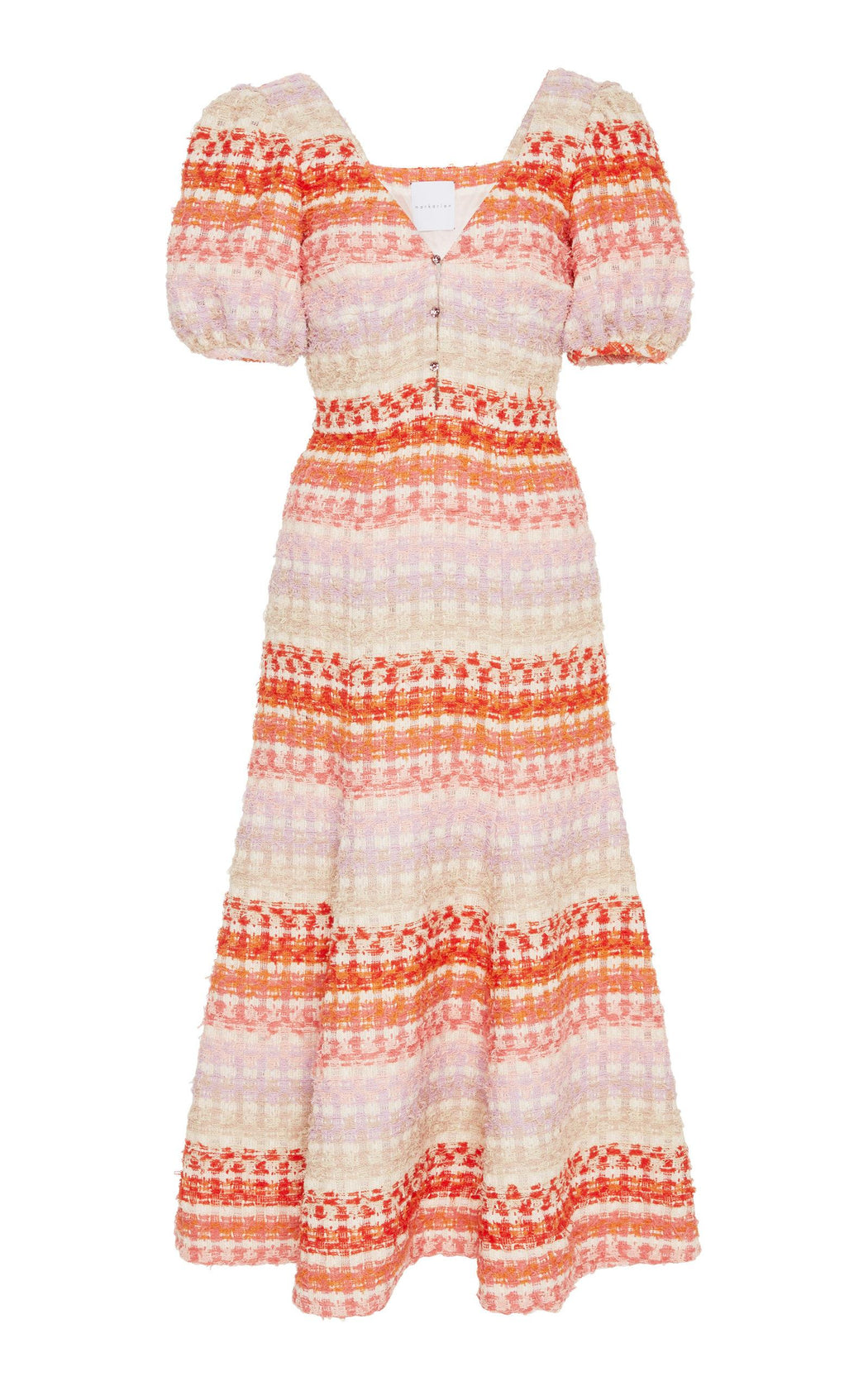 Pink Striped Boucle Tweed Midi Dress