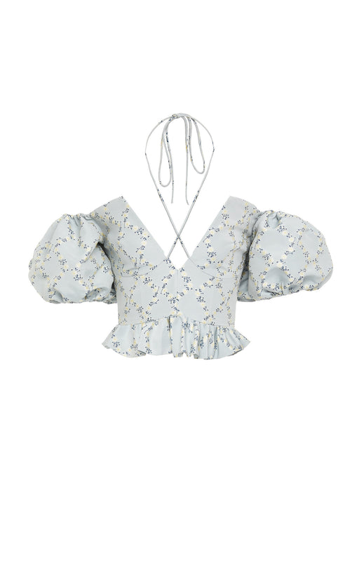 Mary Blue Floral Lattice Embroidered Top