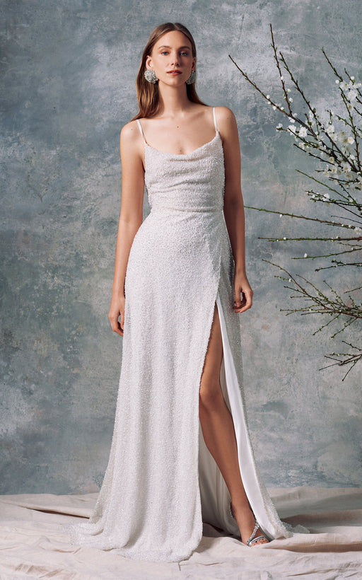 Minerva White Sequin Gown
