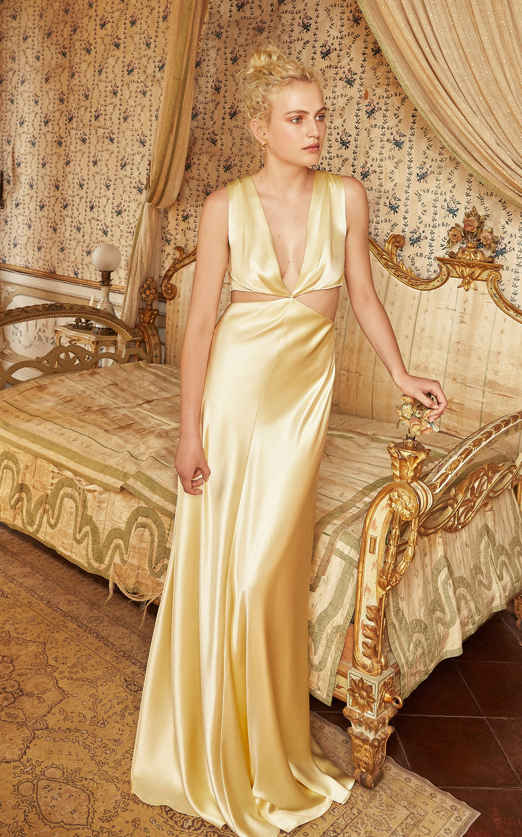 Monaca Yellow Silk Cut-Out Gown