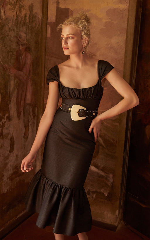 Mondella Black Silk Dupioni Dress