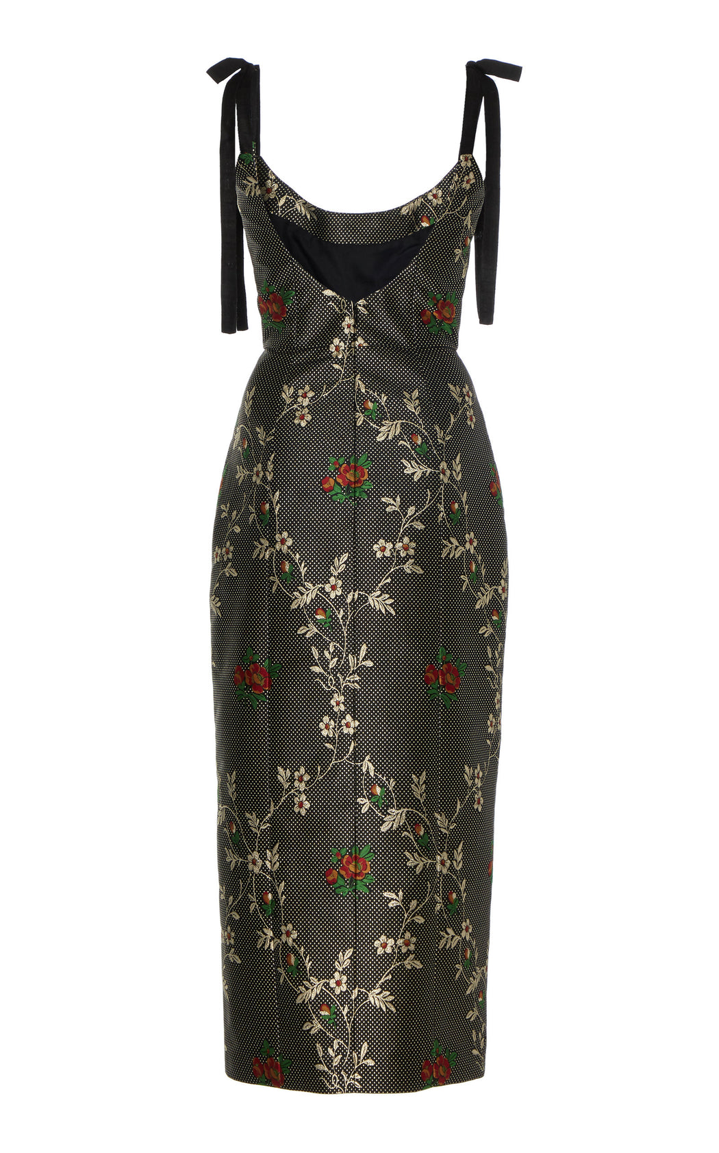 Monroe Black Floral Jacquard Midi Dress