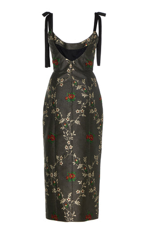 In Stock: Monroe Black Floral Jacquard Midi Dress