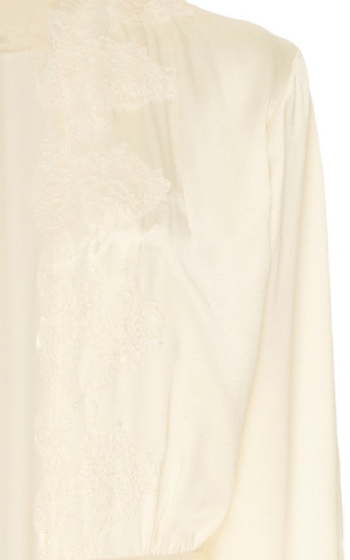 In Stock: Montague Ivory Lace-Trimmed Silk-Satin Jacket