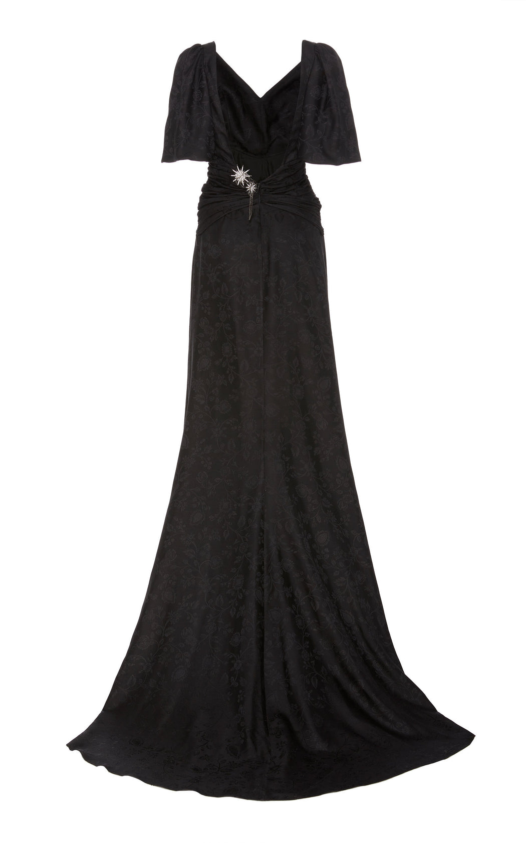Night Fever Black Silk-Brocade Ruched Gown