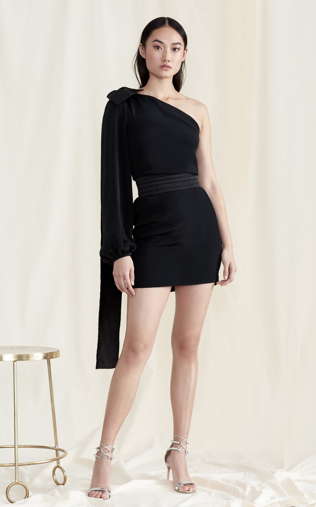 Nightshade One-Shoulder Black Silk Mini Dress