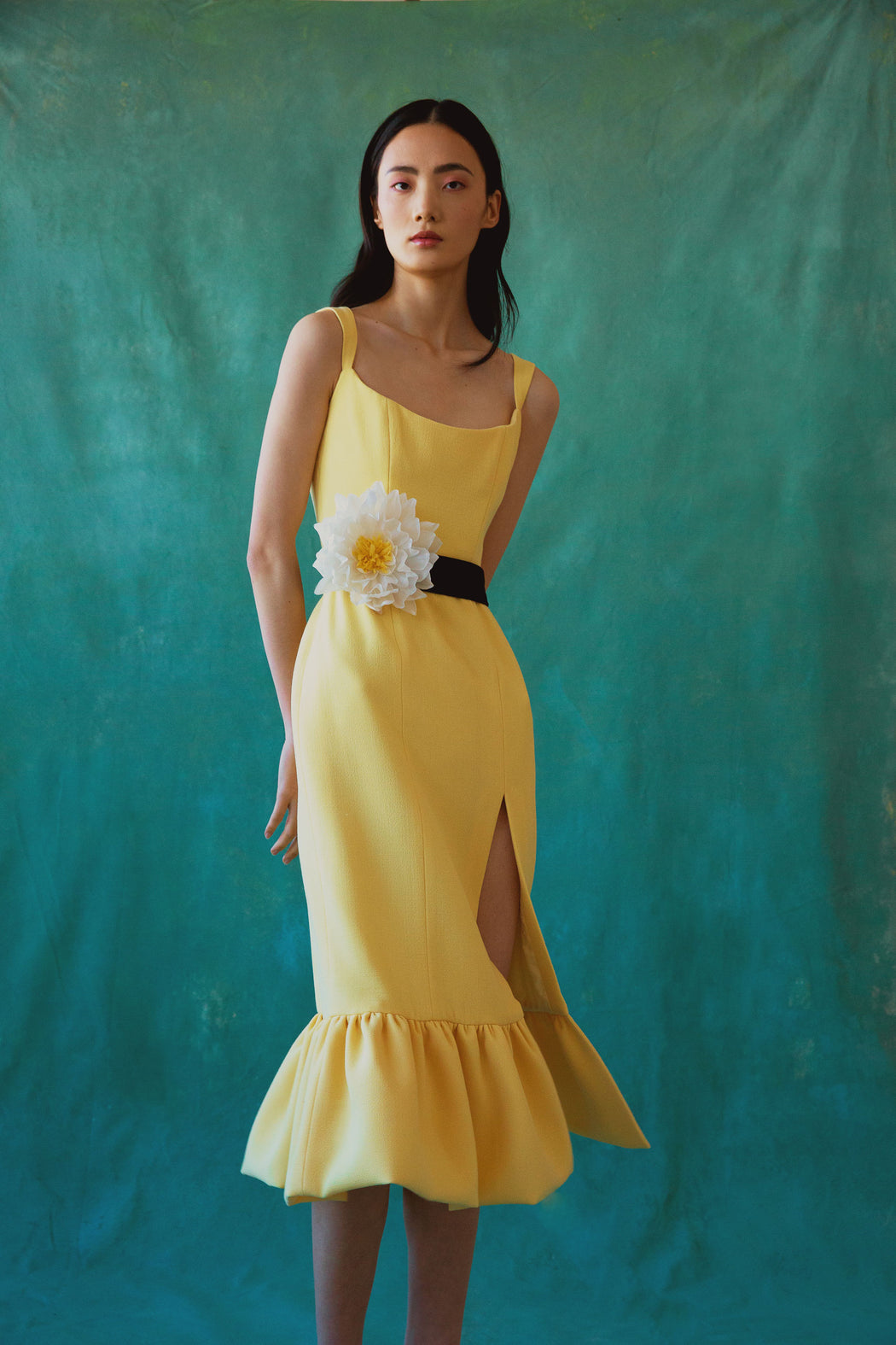 Pallas Yellow Wool Corset Midi Dress