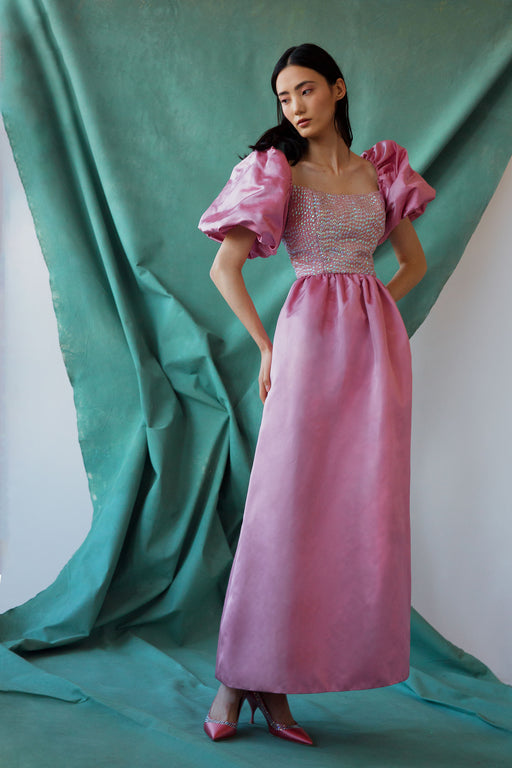 Castitas Pink Puff-Sleeve Silk Satin Gown with Opal Sequins