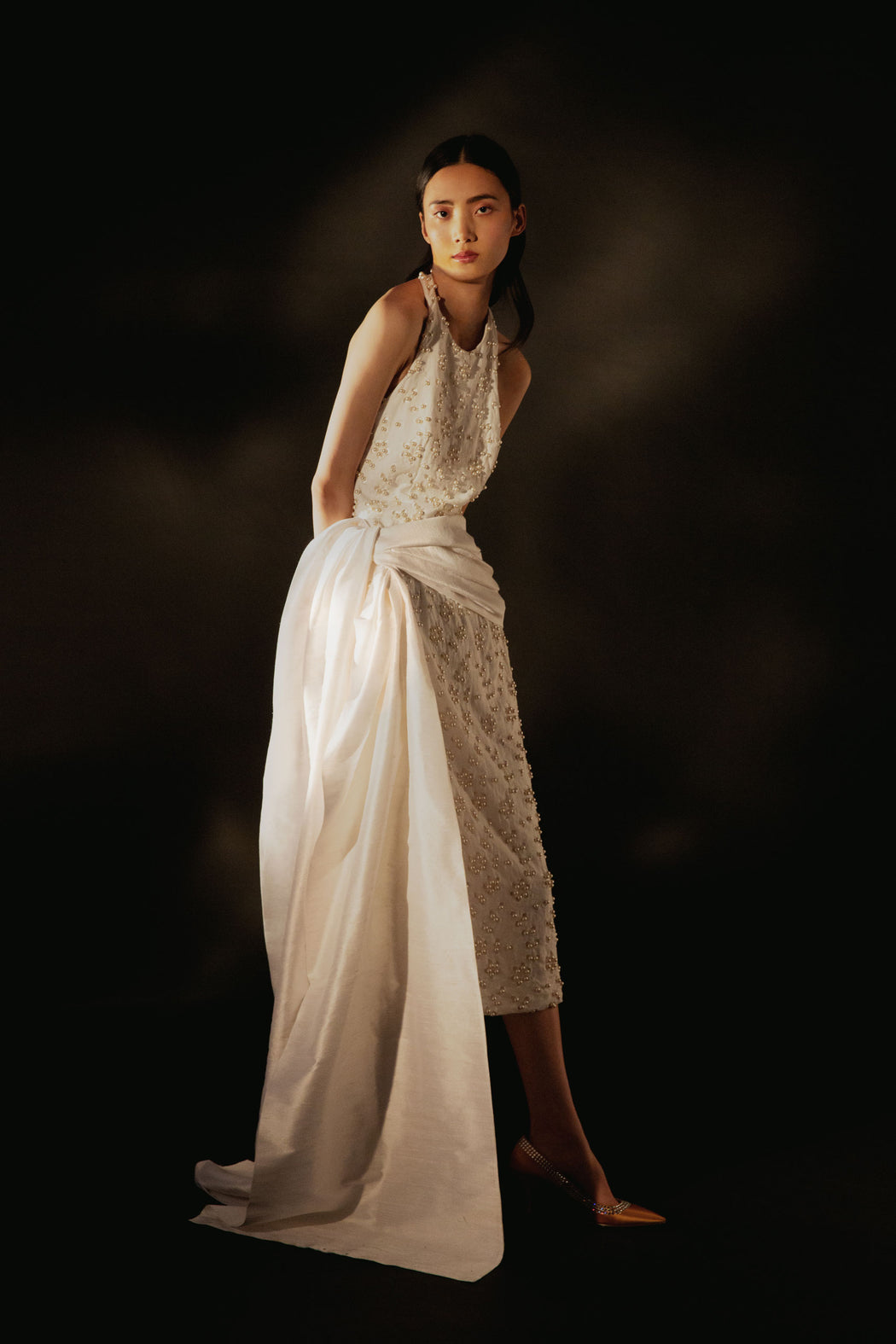 A Fight for Love and Glory White Pearl-Embellished Broderie Anglaise Cotton Midi Dress with Sash