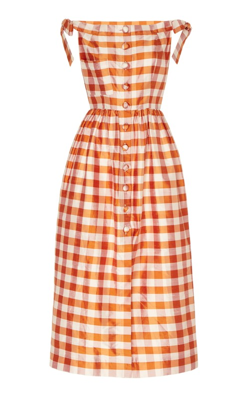 Panfilo Orange Gingham Silk Midi Dress