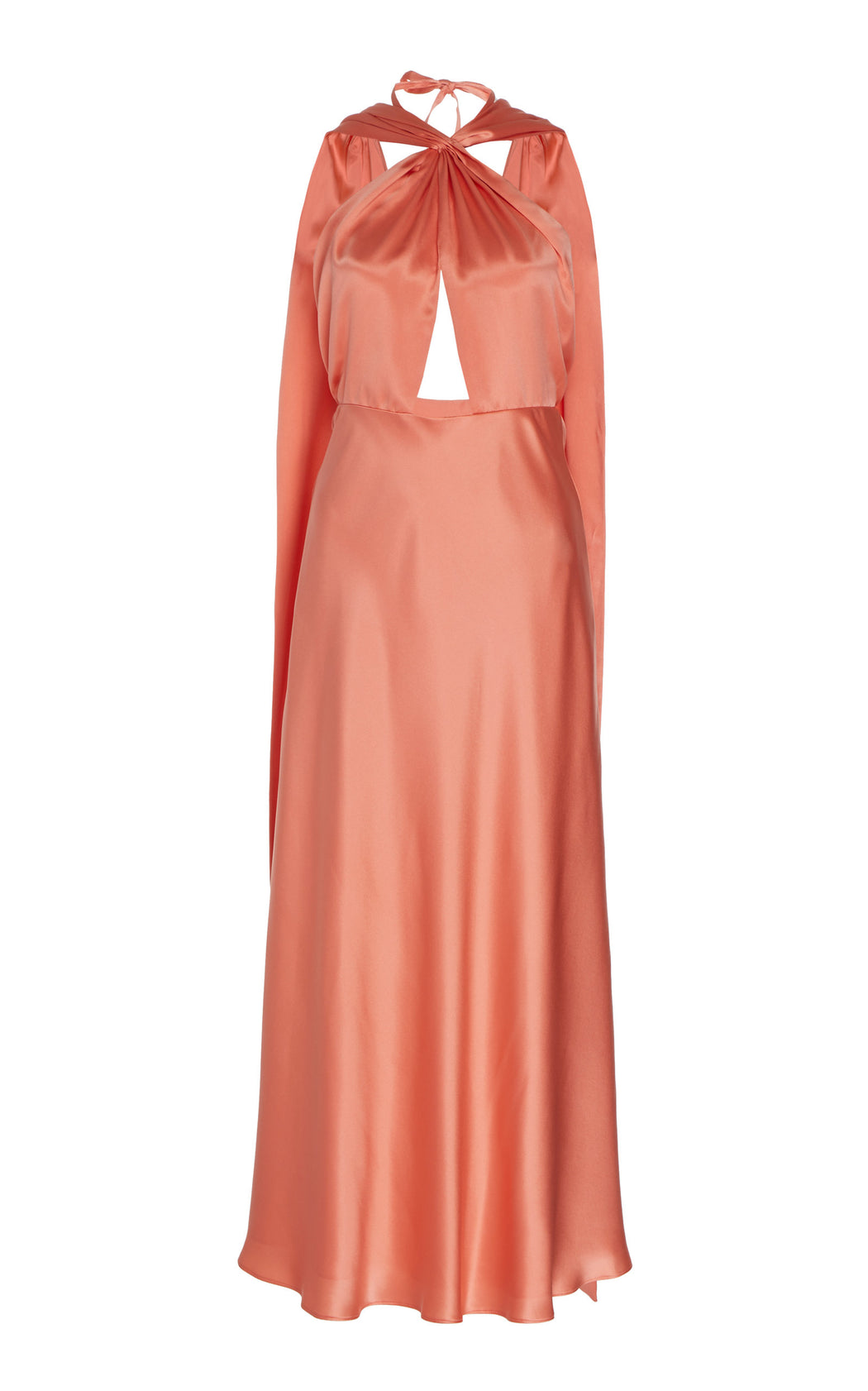 Lake Pink Silk Cape Dress