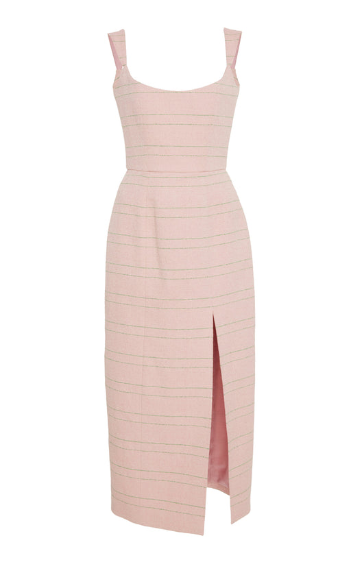 Pink Tweed Corset Dress with Green Stripes