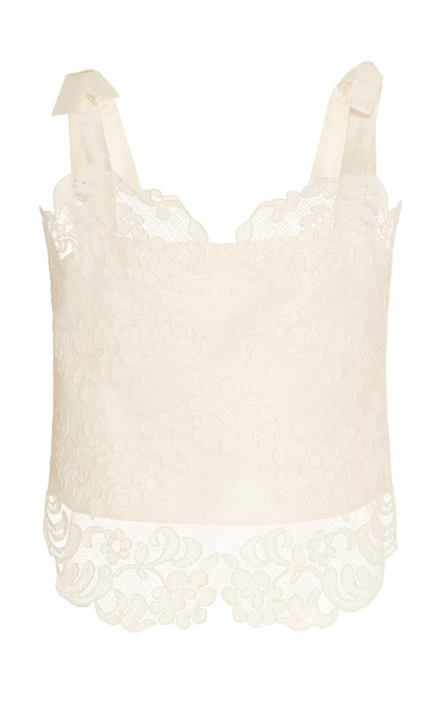 In Stock: Prospero Ivory Lace Front Top With Bow Shoulders