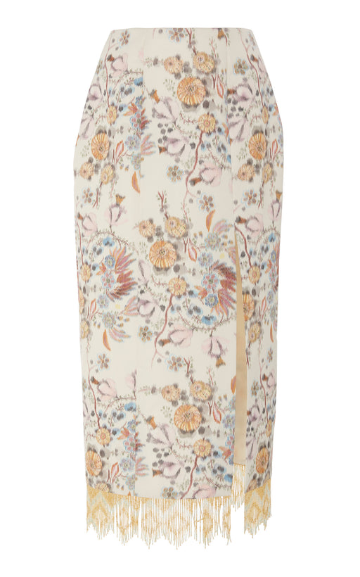 In Stock: Ric Floral Brocade Skirt with Beaded Hem