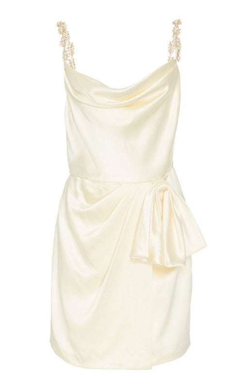 In Stock: Rosetta Ivory Satin Mini Dress With Bow