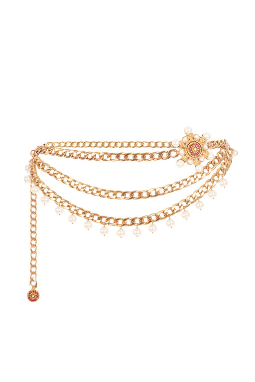 X Ciner Valeria Gold-Plated Chain Belt with Pink Crystals