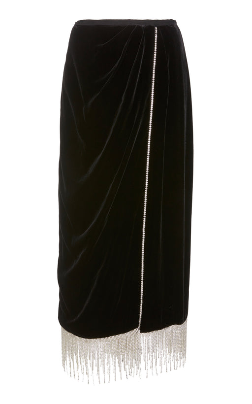 Salviati Crystal-Embellished Black Velvet Skirt