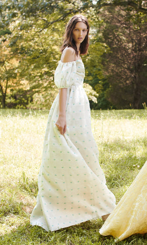 Elizabeth White Silk Organza Floral Embroidered Gown