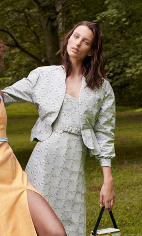 Sample Sale: Wickham Pale Blue Floral Lattice Jacket