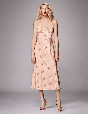 Tut Pale Pink Scarab Embroidered Corset Dress