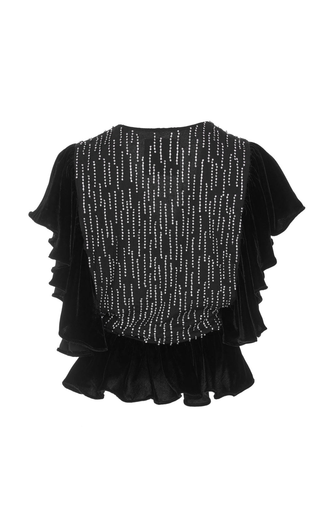 Upside Down Crystal Embellished Velvet Top