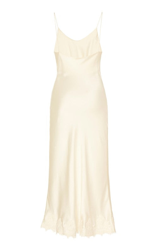 In Stock: Verona Ivory Satin-Silk Slip Dress with Lace Trim