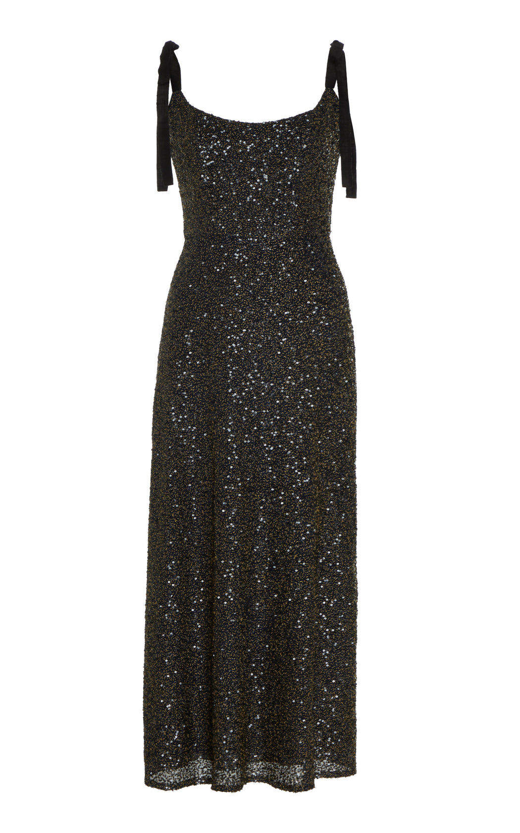 In Stock: Veronica Black Sequined Silk Chiffon Midi Dress