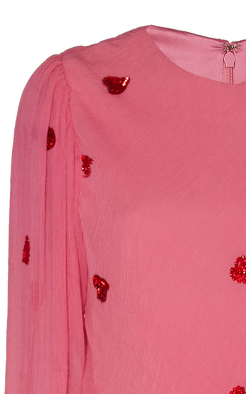 In Stock: Young Hearts Run Free Sequin-Detailed Pink Silk Gown